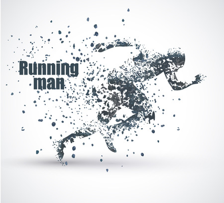 Running Man, particle divergent composition, vector illustration ,solated on white background Фото со стока - 56664872