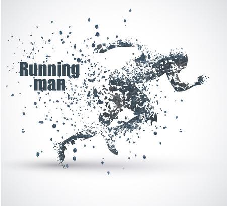 Running Man, particule composition divergente, illustration vectorielle, solated sur fond blanc