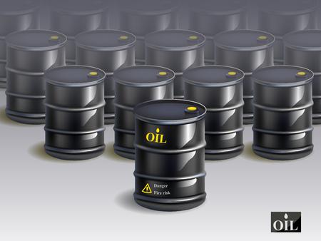 international crisis: A big group of black new oil barrels. vector illustration.