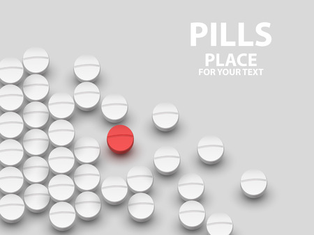 potency: Top view of the heap of white medicine pills on white surface. Illustration