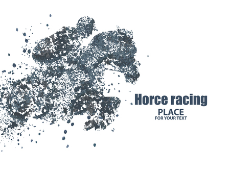 endurance run: Horse racing  particle divergent composition, vector illustration. Illustration