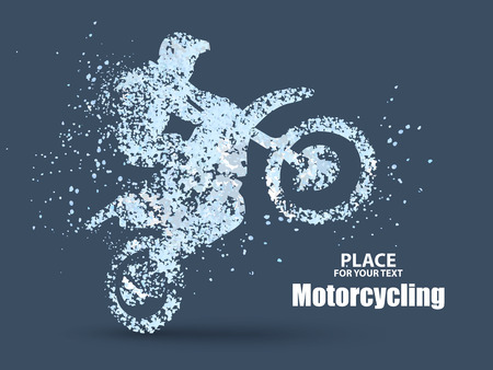 enterprising: Particles of motorcycle riders,full of enterprising across significance vector illustration. vector illustration