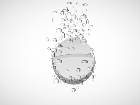 effervescent: Effervescent tablet in water with bubbles.vector illustration