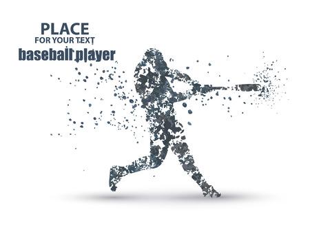 Baseball Batter colpendo palla, particella composizione divergenti, illustrazione vettoriale Archivio Fotografico - 56665240