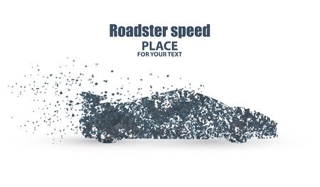 roadster: Roadster , symbolizing speed vector illustration.particle divergent composition