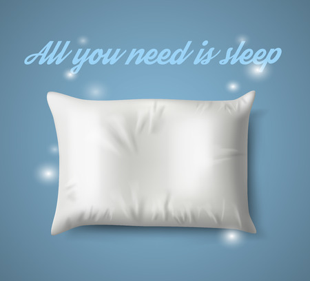 white pillow: White Pillow with magic on Blue Background with Real Shadow.