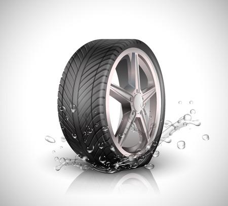 splashing water: Car wheel with splashing water in motion blur on white background .