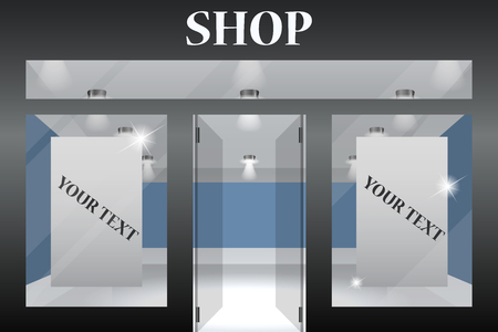 shop window display: Shop Front. Exterior horizontal windows empty for your store product presentation or design.