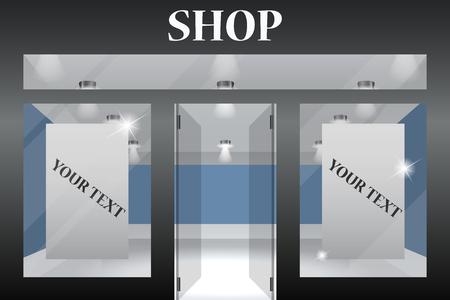Winkel voorkant. Buitenkant horizontale ramen leeg voor uw winkel productpresentatie of ontwerp. Stock Illustratie
