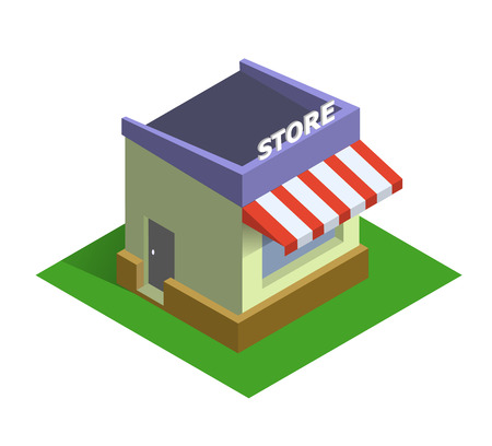 Flat isometric store isolated vector icon