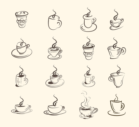 tea   hot drink: Cup of hot drink ,coffee, tea etc, big set . Illustration