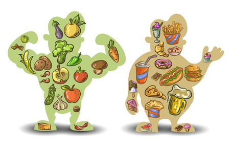 Human thin and fat. Nutrition, diet, food on white background .