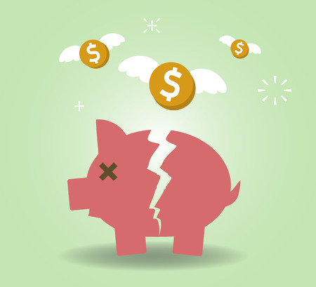 economic depression: Broken Piggy Bank concept for financial crisis or economic depression. Illustration