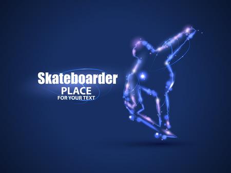 dark backgrounds: Motion design. Skateboarder jump on skateboard.
