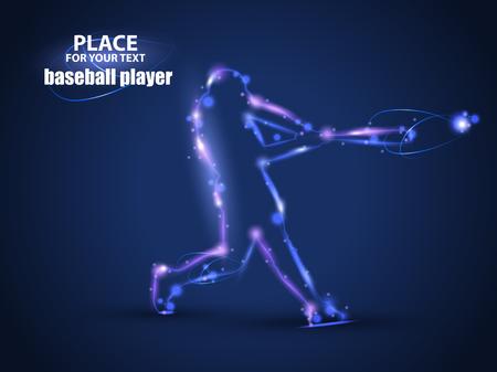Motion design. Beslag van het Honkbal Bal raken. Vector Illustratie