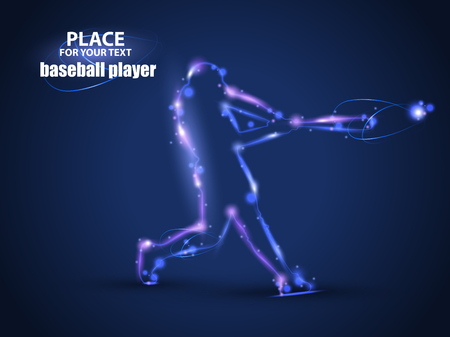 Motion design. Baseball Batter Hitting Ball.