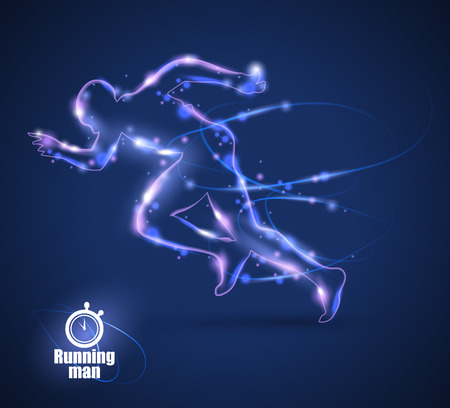 glow in the dark: Motion design. Running Man isolated on black background.
