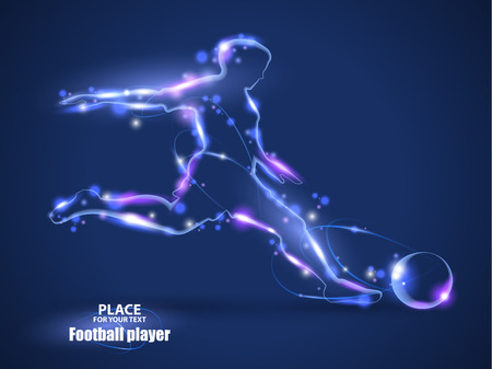 Motion design. Football player, kick a ball. Blur and light.