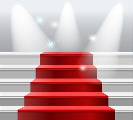 red carpet background: staircase with red carpet, flash light on a white background