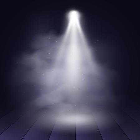 Projecteur disco illuminé scène en bois décoration théâtre de théâtre. Vector illustration de présentation de fond illustartion. Vecteur d'arrière-plan Spotlight. Projecteur de scène. Effet de projecteur sur la scène.