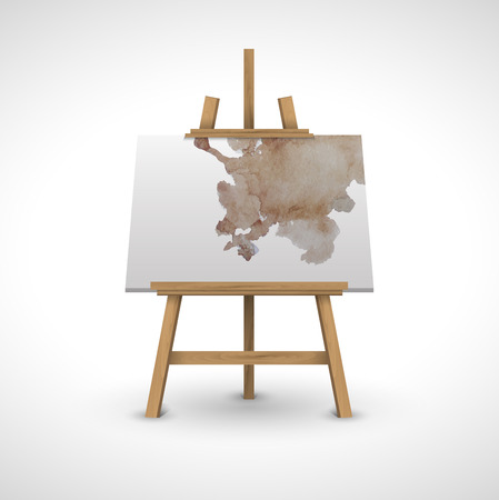 blank canvas: blank canvas on a wooden easel with watercolor on a white background
