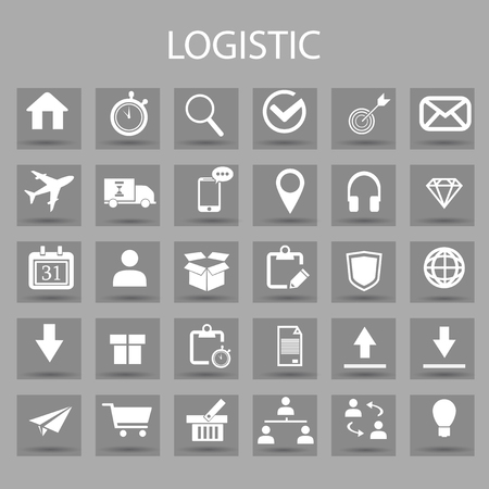 Vector flat icons set and graphic design elements. Illustration