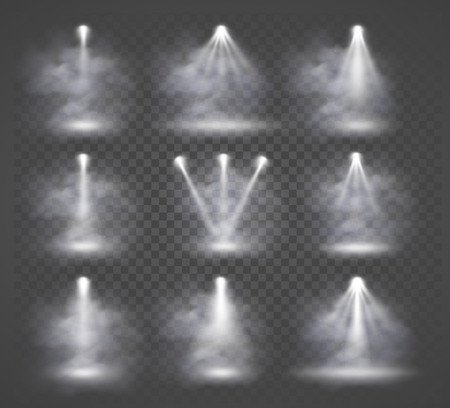 sources de lumière vectorielle et de la fumée, éclairage de concert, projecteurs fixés.