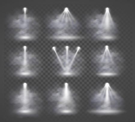 Vector Lichtquellen und Rauch, Konzertbeleuchtung, Scheinwerfer Bühne.