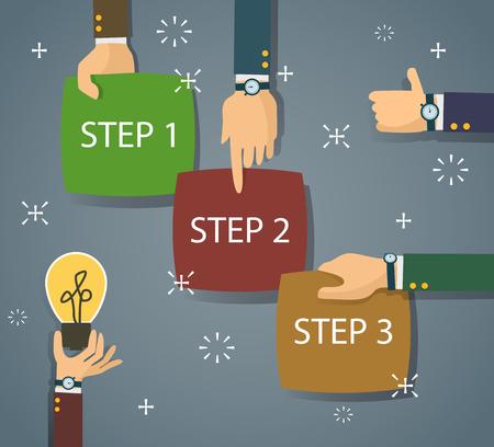 bitmap: bitmap step by step timeline infographic scheme in flat design Illustration