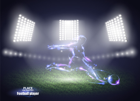 Stadium lights. Motion design. Football player, kick a ball. Three spotlights on a football field.