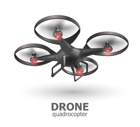 remote view: Realistic remote air drone quadrocopter flying on white background. Isomertic view.