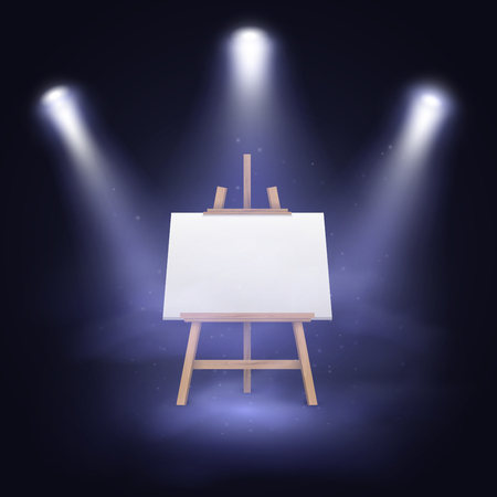 blank canvas: Illuminated stage with scenic lights and blank canvas on a wooden easel. Illustration