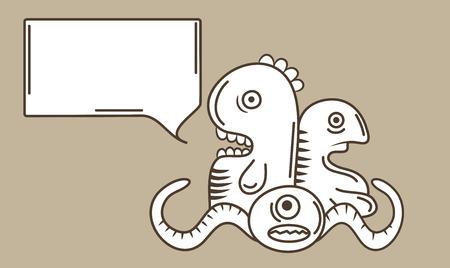 dientes sucios: Una ilustración de las criaturas monstruo en el arte del garabato del estilo de dibujo de línea Vectores