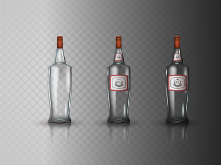 distill: Glass vodka bottle with screw cap Illustration