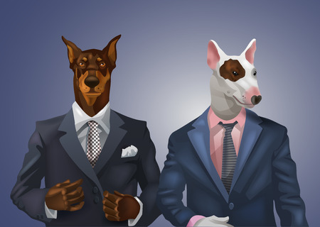 human face: illustration of doberman and bull terrier dressed up in office suit Illustration