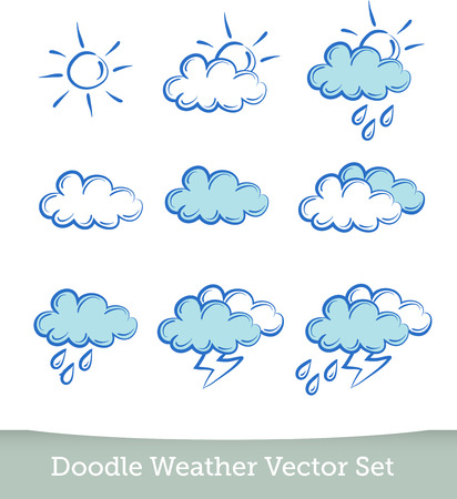 meteorologist: weather doodle set  isolated on white background