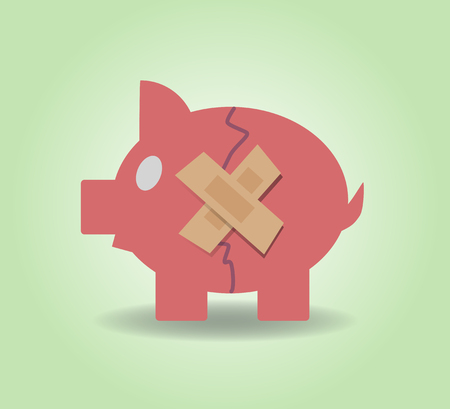 economic depression: Piggy bank with plasters concept for financial crisis or economic depression. Vector illustration EPS10