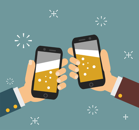 people: Cheers. business people holding smartphone with beer on the screen. Vector illustration EPS10