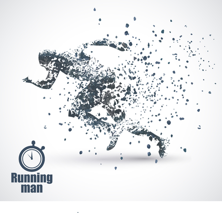 Running Man, particle divergent composition, vector illustration ,solated on white background