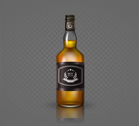 distill: Glass brandy , bottle with screw cap, isolated on black background. Vector illustration. Illustration