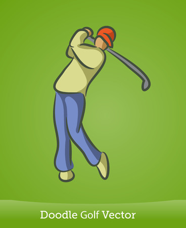 doodle golf isolated on green background. Vector EPS10