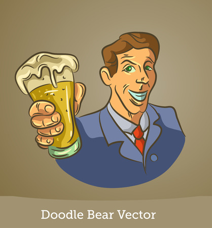 doodle man with a beer isolated on brown background. Vector EPS10 Illustration