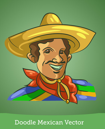 doodle Mexican isolated on green background. Vector EPS10 Illustration