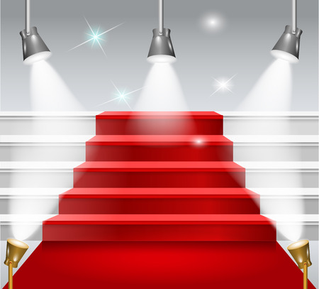 staircase with red carpet, flash light on a white background