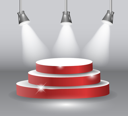 important event: Podium on three elevated circular steps with a red carpet illuminated by three spotlights for an important event public speaking or award vector illustration EPS10.