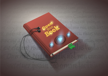 audio book: Concept of audio book with headphones, vector illustration