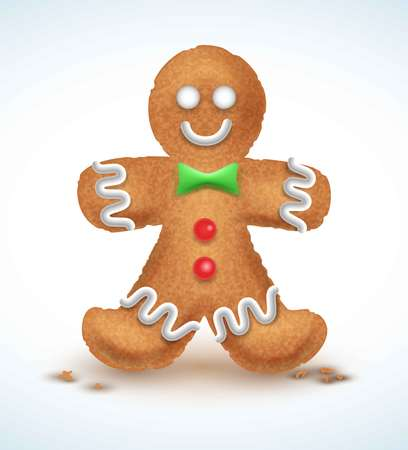 Gingerbread man decorated colored icing. Holiday cookie in shape of . Qualitative vector illustration for new year s day, christmas, winter , cooking, eve, food, silvester, etc Illustration