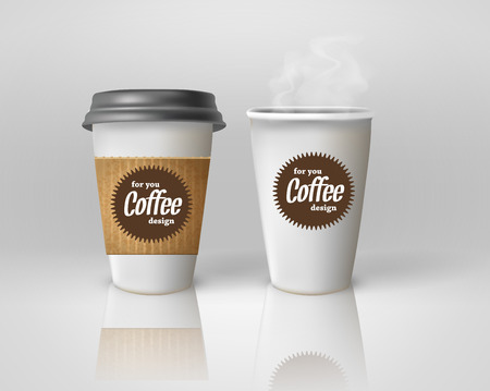 Realistic paper coffee cup set.