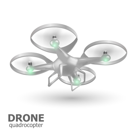 logo: flying drone quadrocopter logo template. Vector illustration