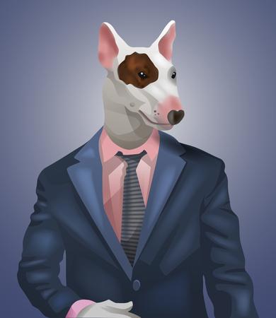 bullterrier: man with bullterrier head